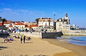CASCAIS, PORTUGAL - MARCH 19: Praia do Peixe beach and Passeio Dom Luis I on March 19, 2014 in Casca