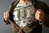 Man Wearing Dollar Shirt