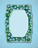 Invitation Card With Pattern Of Beautiful Flowers - Forget Me Not - Floral Nature Frame.