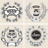 Set Vector Wreaths Of Rye And Hops For Beer