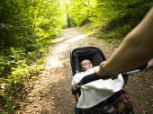 Parent And Baby Taking A Walk In The Woods