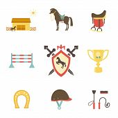 image of saddle-horse  - Horse and equestrian icons in flat style with a horse or pony in profile  stables  paddock  riding hat  jump  trophy  horseshoe  whip   crop  brush  saddle and emblem with a shield and crossed swords - JPG