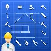Home construction  builder and tools icons
