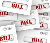 Bill word may envelopes pile stack invoices