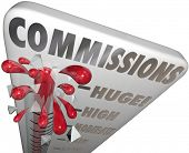 Commissions word on a thermometer measuring the level of your sales income