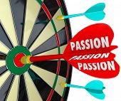 Passion word dart hitting target desire dedication commitment