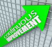 Continuous Improvement words on an arrow aiming upward
