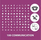 100 communication icons set, vector