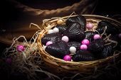 Chocolates In Metal Basket With Lady Purse