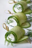 Rolls Of Fresh Cucumber With Soft Cheese And Dill Macro