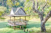 stock photo of public housing  - River front public rest house in Thailand - JPG
