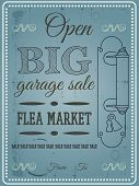 stock photo of flea  - Vintage poster flea market garage sale vector - JPG