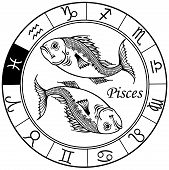 Pisces Zodiac Black White