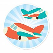 pic of float-plane  - Illustration of two planes against a circular background - JPG