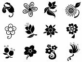 Fantasy Flower Silhouette Silhouette Collection Set 1(vector)