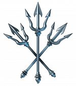 stock photo of poseidon  - Trident concept as a group of metal spears crest design as a Greek mythology symbol of neptune and Poseidon the god of the sea as a three dimensional weapon to catch fish or fight as a gladiator isolated on a white background - JPG