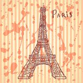Sketch Eiffel Tower, Vector  Background Eps 10