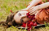 Sexy Model Lying On Grass