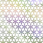 Green And Lavender Pastel Defocused Background With White Geometric Ornament