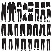 isolated pants silhouettes