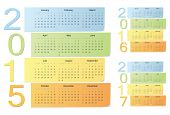 European 2015, 2016, 2017 Color Vector Calendars