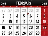 Calendar for February 2015