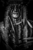 image of indian chief  - American Indian chief with big feather headdress - JPG
