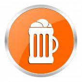 beer orange glossy icon