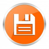disk orange glossy icon