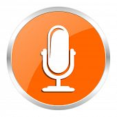 microphone orange glossy icon