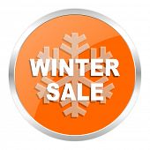 winter sale orange glossy icon