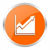 histogram orange glossy icon