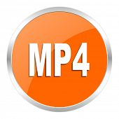 mp4 orange glossy icon