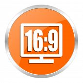 16 9 display orange glossy icon