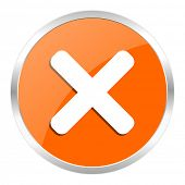 cancel orange glossy icon