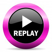 replay pink glossy icon