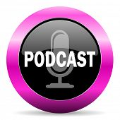 podcast pink glossy icon