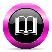 book pink glossy icon