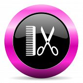 barber pink glossy icon