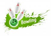 Pins and ball for playing the bowling game over grunge splash. Eps10 vector illustration. Isolated on white background