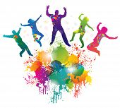 Background with jumping and dancing people and colorful splash.
