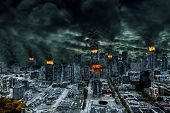 picture of post-apocalypse  - Detailed destruction of fictitious city with fires explosion sinkholes split ground train derailment - JPG