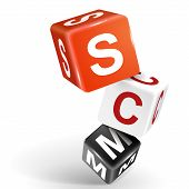 3D Dice Illustration With Word Scm
