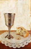 Communion Bread And Wine On Grunge Background