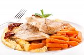 Grilled Meat With Small Carrots