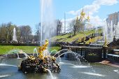 the image of Grand Cascade Fountains At Peterhof Palace garden, St. Petersburg