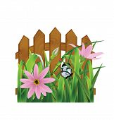 Grass With Pink Flowers, Leaf, Fence. Vector Illustration