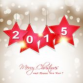 Hanging  2015 Star On Magical Winter Background Greeting Card