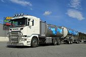 New Scania Tanker Truck Transporting Milk