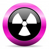 radiation pink glossy icon
